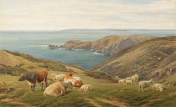 Frederick Williamson (British, 1835-1900) Sheep and cattle on a headland