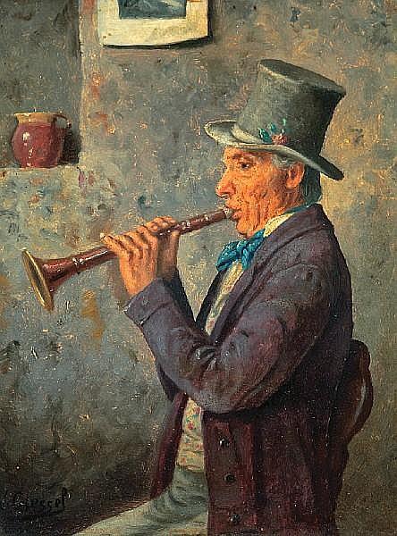 Wilhelm Giessel (Austrian, 1869-1938) The Musician; The Drinker; a pair