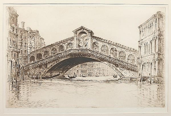 Frederick Arthur Farrell (Scottish, 1882-1935) Ponte Vecchio; The Rialto signed in pencil etchings (a pair) 30.5 x 49cm. (2)