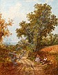 John Henry Dell (British, 1830-1888) Figures on a country lane, John Henry Dell, Click for value