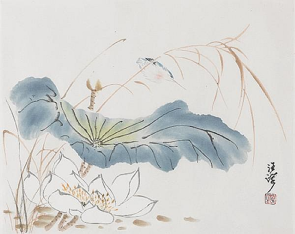 Wang Rong (1896-1972), bird and lotus, ink and colour on paper. Signed, and with one red seal of the artist
