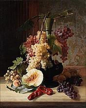 David Emile Joseph de Noter (Belgian, 1825-1892) Still life of fruits and a vase on a ledge