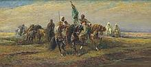 Roy Allison (20th Century) in the manner of Adolf Schreyer (German, 1828-1899) Arab tribesman on horseback halting at a river