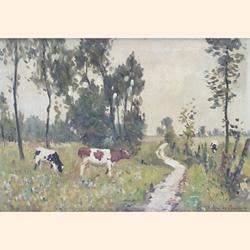 René de Baugnies (Belgian, 1869-1962), Cows in the meadow, oil on canvas, signed, 33.2 x 46.4 cm