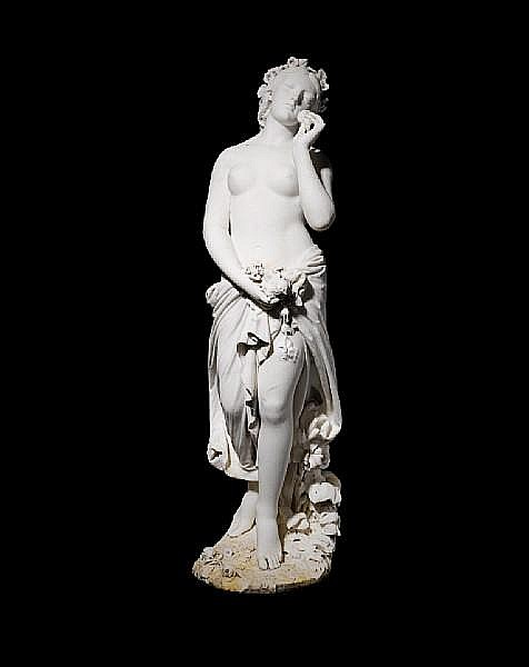 An Italian white marble figure of Flora By Giovanni Battista Lombardi, Rome, dated 1872