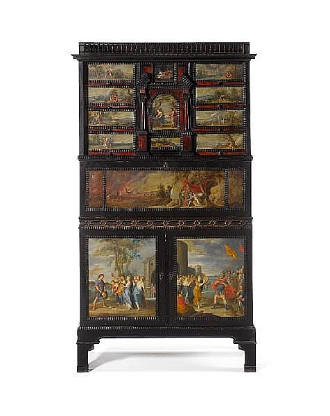 A Flemish 17th century ivory and tortoiseshell inlaid, ebony and ebonised painted cabinet, the fourteen painted panels attributed to the circle of Hans Jordaens III (Antwerp, circa 1595-1643)