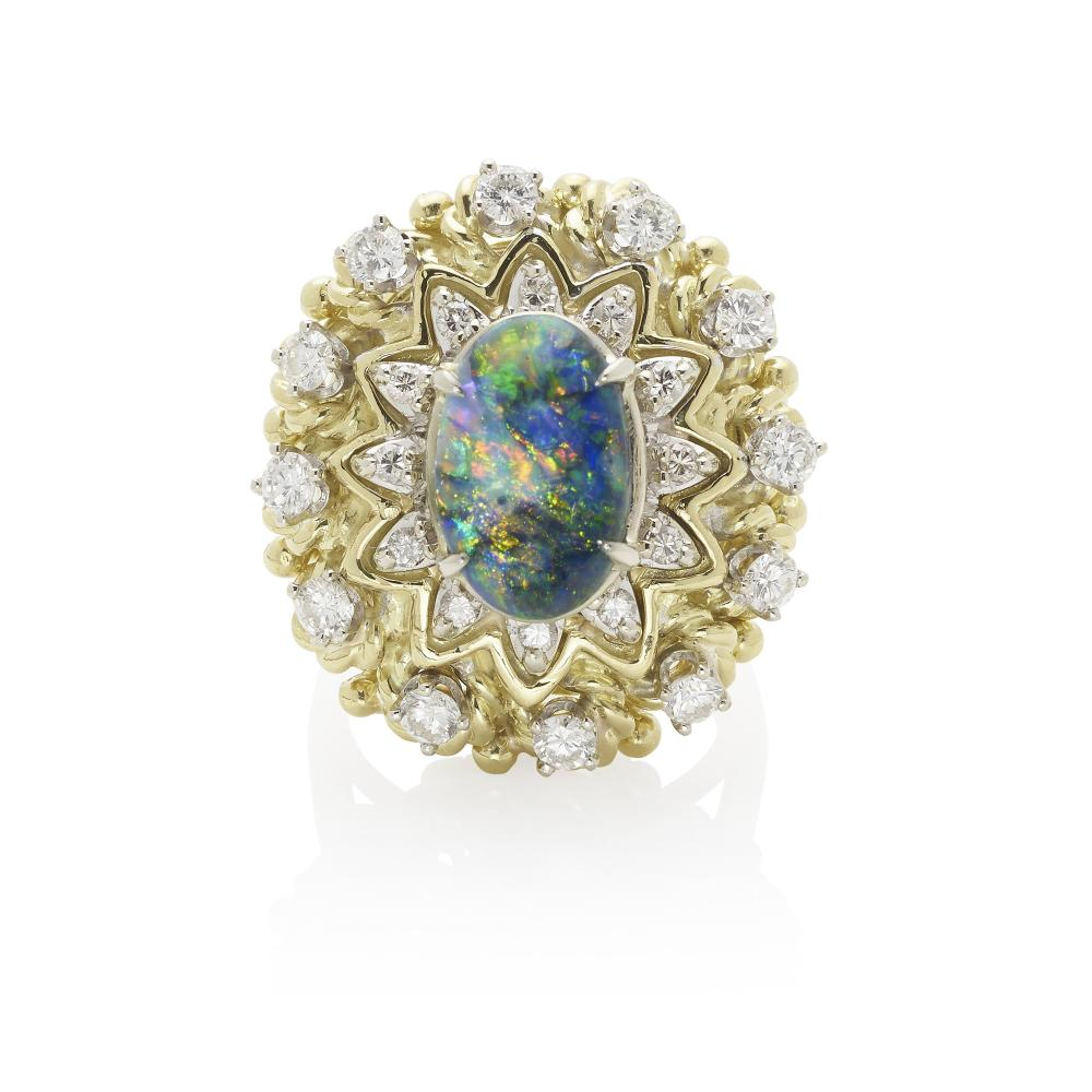 18K GOLD, BLACK OPAL AND DIAMOND RING