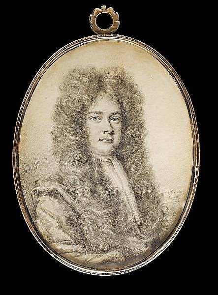 Thomas Forster (British, 1677-1713) A Gentleman, wearing cloak, jabot and very long curled wig