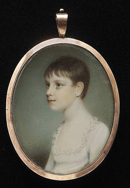 Edward Nash (British, 1778-1821) A young girl, three-quarter profile to the left, wearing low-cut white dress with frilled trim
