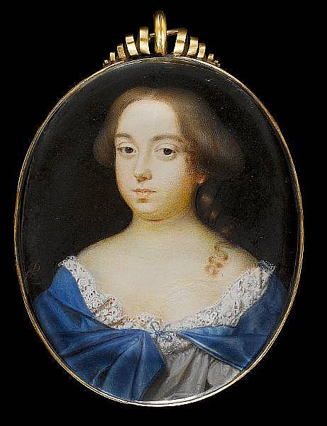Peter Cross (British, circa 1650-1724) A Lady, wearing white dress with pink and white lace trim, blue cape tied with a ribbon at her corsage, her hair upswept with a curl falling over her left shoulder