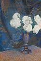 Leon Wyczolkowski (Polish, 1852-1936) Still life of white roses in a vase, Leon Wyczółkowski, Click for value