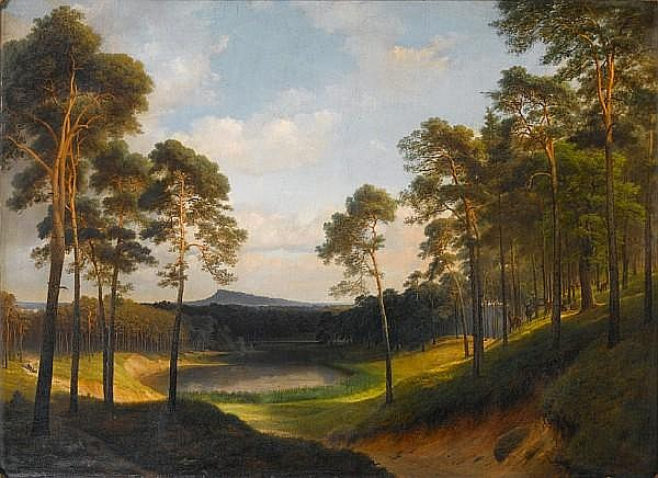 Follower of Eduard (Johann Philipp E.) Gaertner (1801-1877) Extensive wooded landscape with a lake in the distance