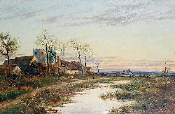 John Henry Boel (British, 19th/20th Century)Landscapes at sunset, a pair