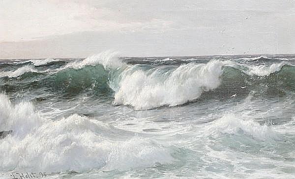 Laurits Bernhard Holst (Danish, 1848-1934) 'Waves off the lighthouse, Biarritz'