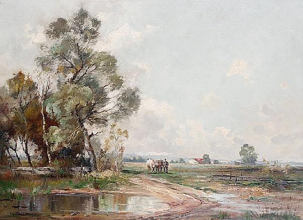 Klaus G. Richter (German, 1887-1948) Herdsman and cattle in an open landscape, Schleißheim