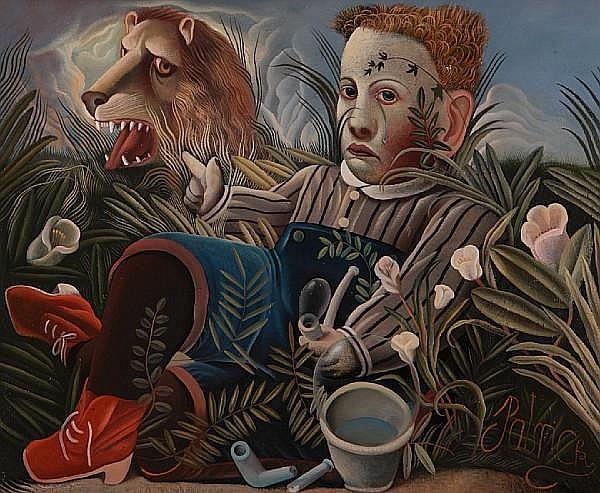 John Byrne (British, 1940) Boy and lion in undergrowth