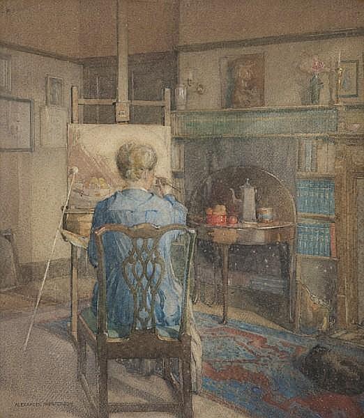 Alexander Nisbet Paterson, ARSA RSW FRIBA (British, 1862-1947) Maggie Hamilton painting in her studio