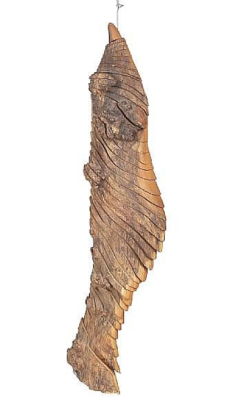 Tim Stead MBE (British, 1952-2000)An articulated burr elm fish sculpture