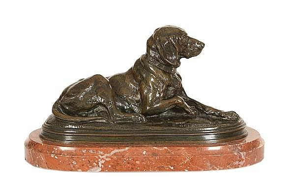 Paul Edouard Delabrierre, French (1829-1912) A bronze model of a hound