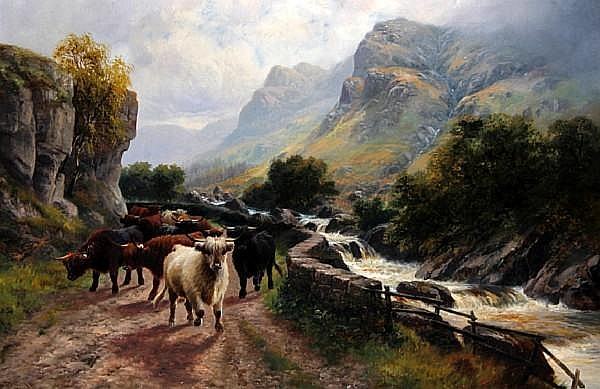 H.R. Hall (British, active 1895-1902) 'Highland Cattle - Pass of the Trossachs'