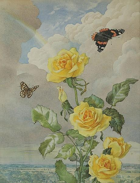 Andrey Nikolaevich Avinoff (1884-1949) Yellow roses with butterflies and rainbow