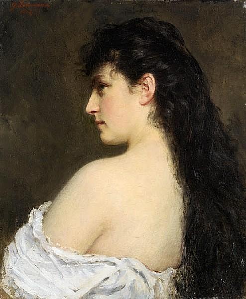 Yuri Yakovlevich Leman (1834-1901) Semi-nude beauty
