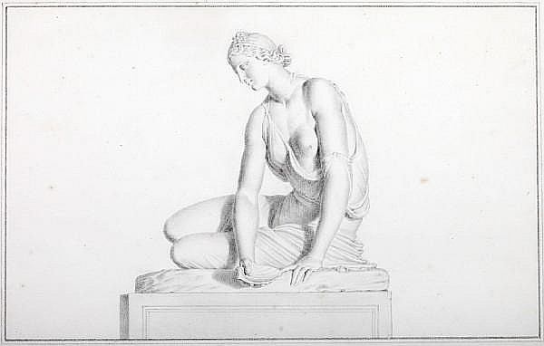 Giovanni Domenico Campiglia (Italian, 1692-1768) Study of the sculpture of a Nymph with a Shell, now in the Musée du Louvre, Paris