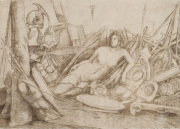 Jacopo de' Barbari (Italian, born circa 1460-died circa 1516) Victory reclining with trophies of war