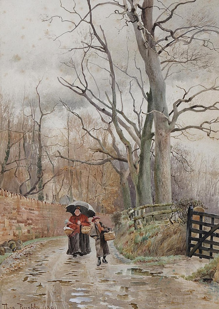 Thomas Bushby (British, 1861-1918) Mother and child on a wooded country lane