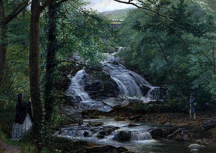 Joseph Edward Worrall (British, 1829-1913) 'Mill stream at Trefrew'