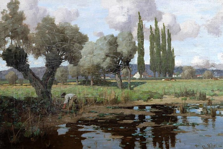 John Miller, RSA PRSW (British, 1893-1975) 'Cutting Reeds', a French river landscape