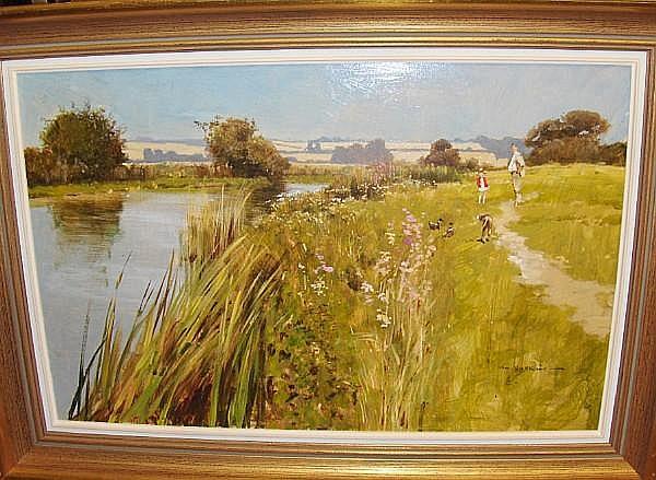 John Haskins (British, born 1938) A river walk; a shooting scene
