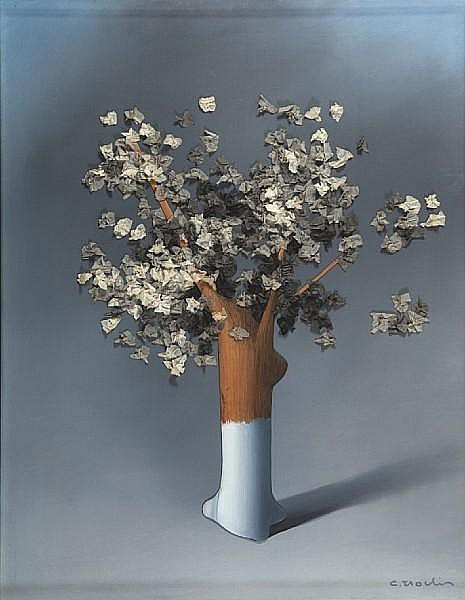 Costas Tsoclis (Greek, born 1930) The tree 102 x 76.5 x 6.5 cm.