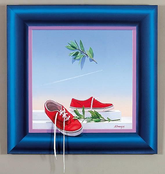 Achilleas Droungas (Greek, born 1940) Red shoes 80 x 80 cm.
