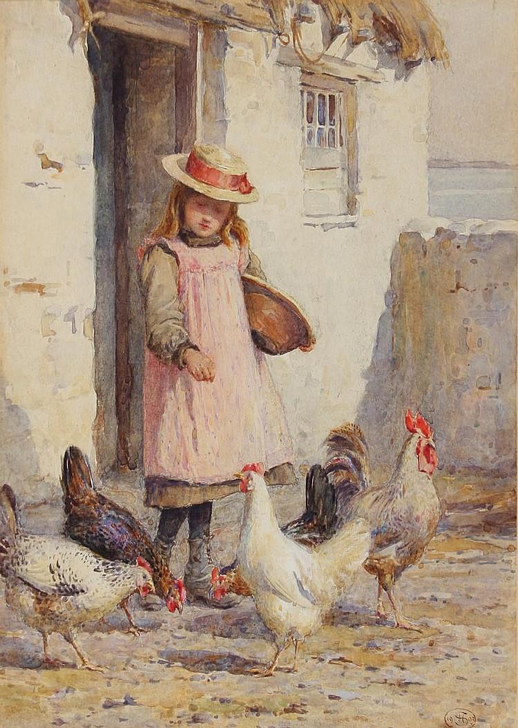 Harriette Sutcliffe (British, active 1881-1922) Feeding the chickens 24.5 x 19cm.