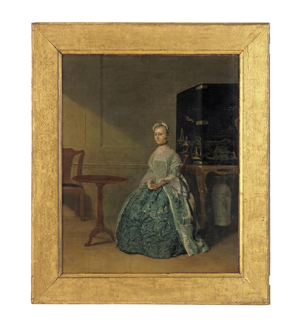 Circle of Arthur Devis (Preston 1712-1787 Brighton) Portrait of a lady, said to be Ann Cawood, seated full-length before a lacquer cabinet on a stand