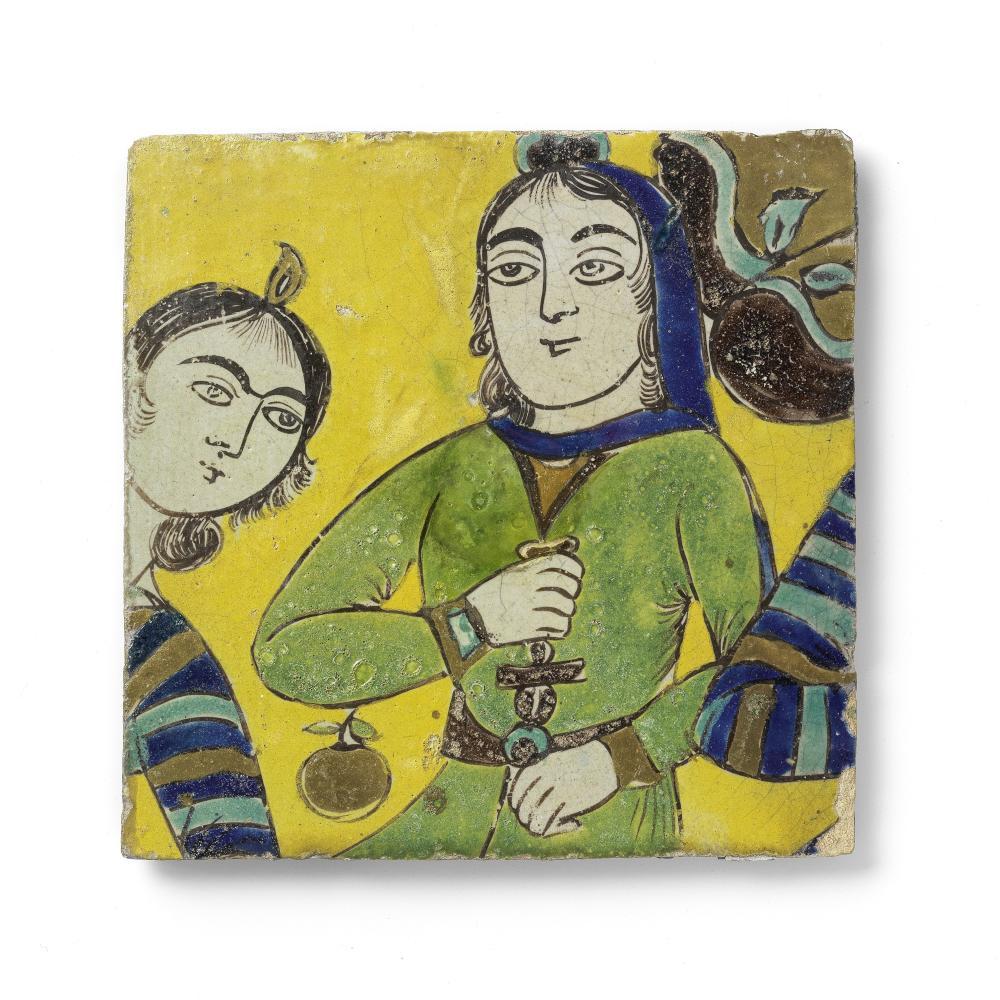 A Safavid cuerda seca pottery tile depicting two maidens, possibly a scene from Jami's Yusuf va Zulaykha Persia, 18th Century