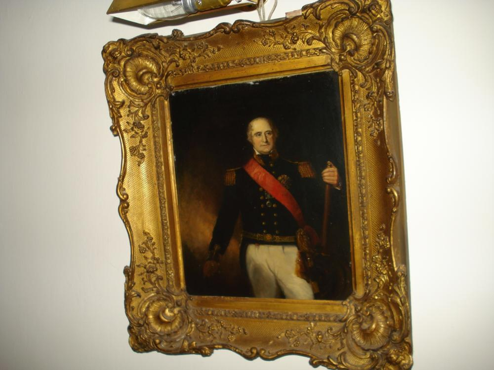 After Richard Evans, English School, 19th Century Sir Thomas Masterman Hardy (1769-1839) Bt. Vice Admiral of the Blue Three-quarter length, wearing Rear Admiral's uniform and the sash and star of the Order of Bath, a telescope in his left hand