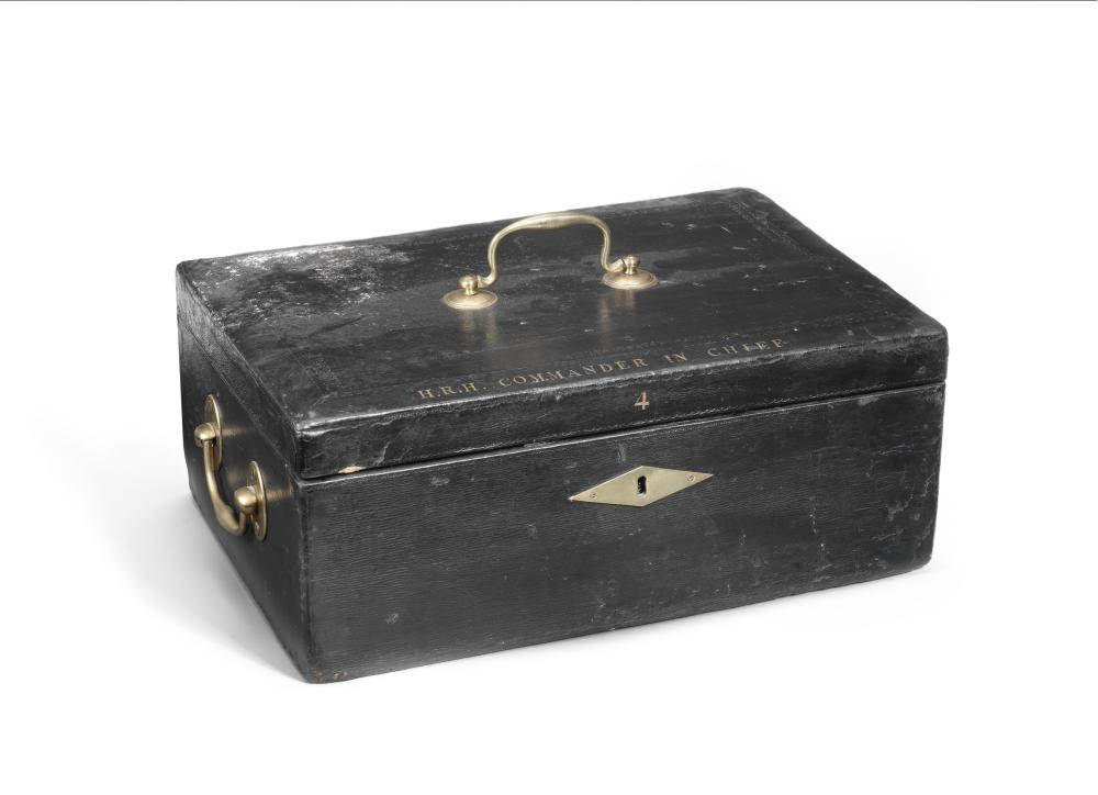 A large leather-bound three-handled despatch box for Prince Frederick, Duke of York, late 18th century late 18th century