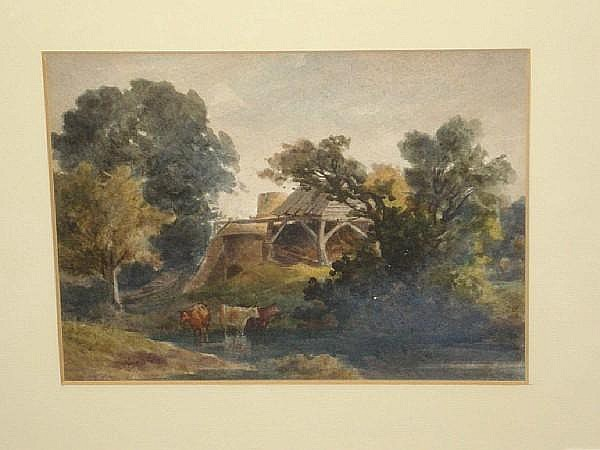 John Flower (British, 1793-1861) Cattle watering at a riverside, by a ruined building,