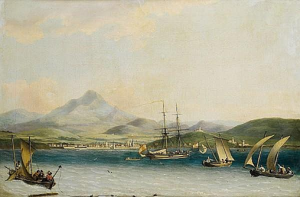 John Thomas Serres (1759-1825 London) The entrance to the port of San Sebastian from the North West, the Isla de Santa Clara and Monte Urgull in the distance