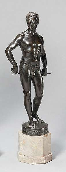 Rudolf K. Küchler (Austrian, b. 1867) A bronze figure of a young male fencer