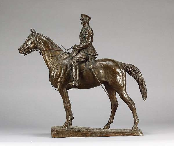 Sydney March (English, 1875 - 1968): A bronze figure of an officer on horseback