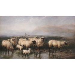 John William Bottomley, (British, 1816-1900) Homeward bound, a shepherd and flock 30 x 52 in. (76.2 x 132.1 cm.)