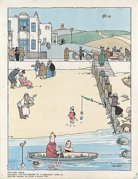 William Heath Robinson (British, 1872-1944) Sea-side crime, elaborate plot engineered by a notorious gang of sea-side thieves to steal a child's pail unframed