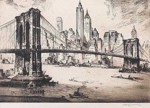 Nat Lowell (American, 1880-1956) Brooklyn Bridge, New York Etching with drypoint, on wove, signed in pencil; 235 x 325mm (9 1/4 x 12 3/4in)(PL). Together with eleven other etchings by Orford, Howard, Little, MacLeod, Smart, Wedgewood, Tushingham and