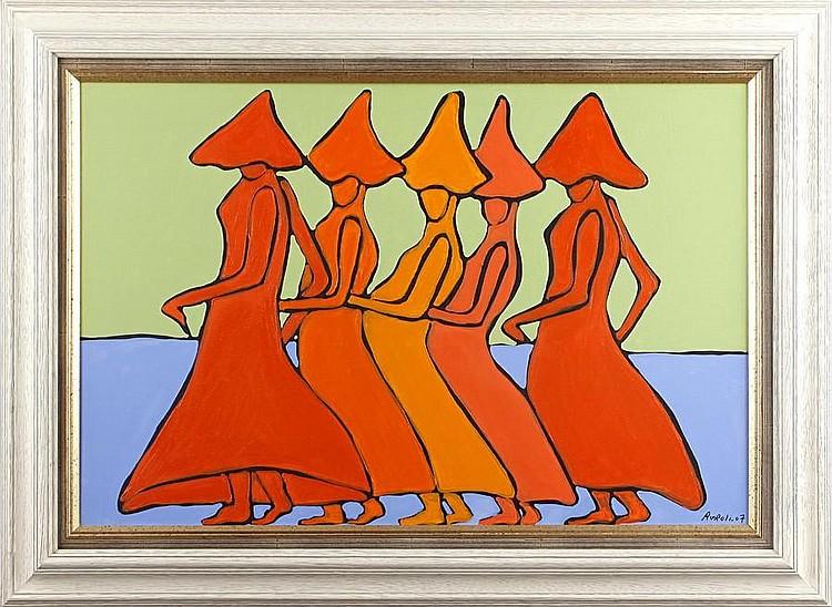 Francesco Ruspoli (French, 1958) Figure studies in orange