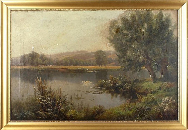 Edward J. Duval (British) Landscape with swan on a lake