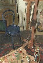 AR  Benjamin Sullivan (British, born 1977) Studio interior with blue chair
