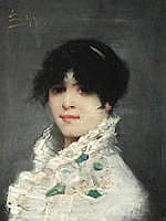 Yvonne de Saint-Cyr Portrait of lady in a white dress